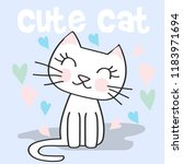 cute cat doodle cartoon  vector ... | Shutterstock .eps vector #1183971694