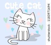 Stock vector cute cat doodle cartoon vector illustration 1183971694