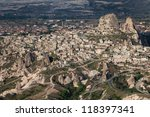 Aerial view of Uchisar Castle in Nevsehir, Turkey - stock photo
