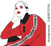 fashion woman sketch in red...   Shutterstock .eps vector #1183973791