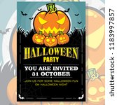 halloween party invitation... | Shutterstock .eps vector #1183997857
