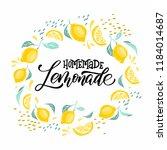 lemonade lettering with lemon...   Shutterstock .eps vector #1184014687