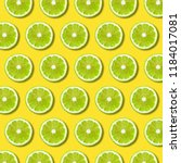 Green Lime Slices Pattern On...