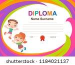 kids diploma certificate... | Shutterstock .eps vector #1184021137