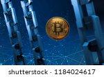 golden bitcoin digital currency ... | Shutterstock . vector #1184024617