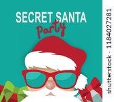cartoon secret santa party... | Shutterstock .eps vector #1184027281
