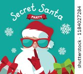 secret santa party template... | Shutterstock .eps vector #1184027284