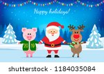 santa claus  a deer and a pink... | Shutterstock .eps vector #1184035084