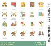 logistics retro icon set.... | Shutterstock .eps vector #1184038744