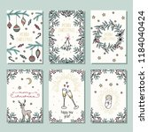 set of six colorful christmas... | Shutterstock .eps vector #1184040424