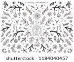 hand sketched floral design...   Shutterstock .eps vector #1184040457