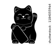 Stock vector maneki neko icon japan lucky cat clipart image isolated on white background 1184055964