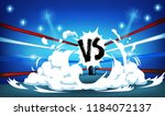 boxing ring surrounded by ropes ... | Shutterstock .eps vector #1184072137