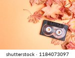 audio cassette tape with autumn ... | Shutterstock . vector #1184073097
