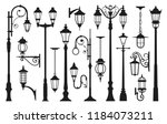 old street lamp black... | Shutterstock .eps vector #1184073211