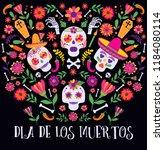 day of the dead  dia de los... | Shutterstock .eps vector #1184080114