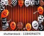 happy halloween design banner.... | Shutterstock .eps vector #1184096074