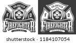 monochrome firefighting emblems ... | Shutterstock .eps vector #1184107054