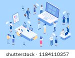 office workspace. isometric... | Shutterstock .eps vector #1184110357