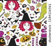 halloween background. witch ... | Shutterstock .eps vector #1184116561