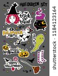 halloween set. witch  ghost ... | Shutterstock .eps vector #1184123164