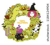 halloween background. witch ... | Shutterstock .eps vector #1184124904