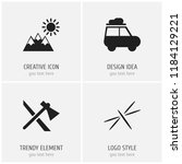 set of 4 editable camping icons....