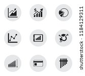 set of 9 editable analytics... | Shutterstock .eps vector #1184129311