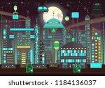 futuristic  night city set in...   Shutterstock .eps vector #1184136037
