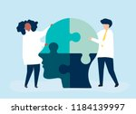 people connecting jigsaw pieces ... | Shutterstock .eps vector #1184139997