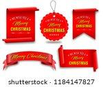 vector  red merry christmas... | Shutterstock .eps vector #1184147827