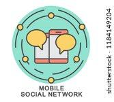 icon mobile social network.... | Shutterstock .eps vector #1184149204