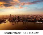 pudong skyline at sunset ... | Shutterstock . vector #118415329