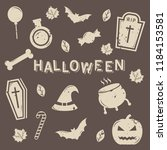 set of isolated halloween icon...   Shutterstock .eps vector #1184153581