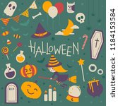 set of isolated halloween icon...   Shutterstock .eps vector #1184153584