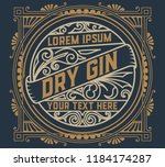 gin label with floral ornaments | Shutterstock .eps vector #1184174287