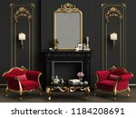 classic interior with decorated ... | Shutterstock . vector #1184208691