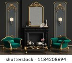 classic interior with decorated ... | Shutterstock . vector #1184208694