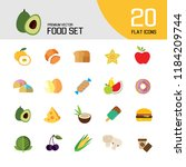 food icon set. broccoli  fruit  ... | Shutterstock .eps vector #1184209744
