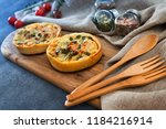 leek quiche and smoked salmon | Shutterstock . vector #1184216914