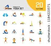 yoga icon set. meditation... | Shutterstock .eps vector #1184223571