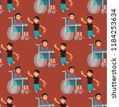 disabled handicapped diverse... | Shutterstock .eps vector #1184253634
