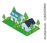 house residences isometric | Shutterstock .eps vector #1184253904