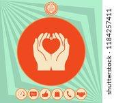 hands holding heart  ... | Shutterstock .eps vector #1184257411