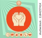 hands holding heart  ... | Shutterstock .eps vector #1184257414