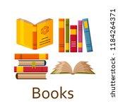 books set isolated on the white ... | Shutterstock .eps vector #1184264371