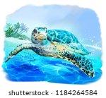 sea turtle floats watercolor... | Shutterstock . vector #1184264584