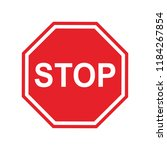 red stop sign isolated on white ... | Shutterstock .eps vector #1184267854