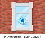 window with broken glass on red ... | Shutterstock .eps vector #1184268214
