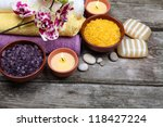 spa still life  soap  salt for... | Shutterstock . vector #118427224